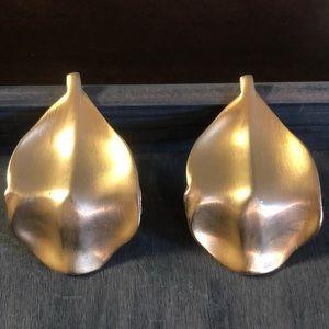 Kenneth Lane Gold Tone Leaf Clip on Earrings